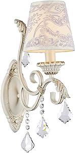 Applique Mural, Style Classique, Armature en Métal couleur or creme, ornée avec pendeloques en Cristal, Abat-jour en tissu couleur beige avec le dessin, E14, 60W 220-240v