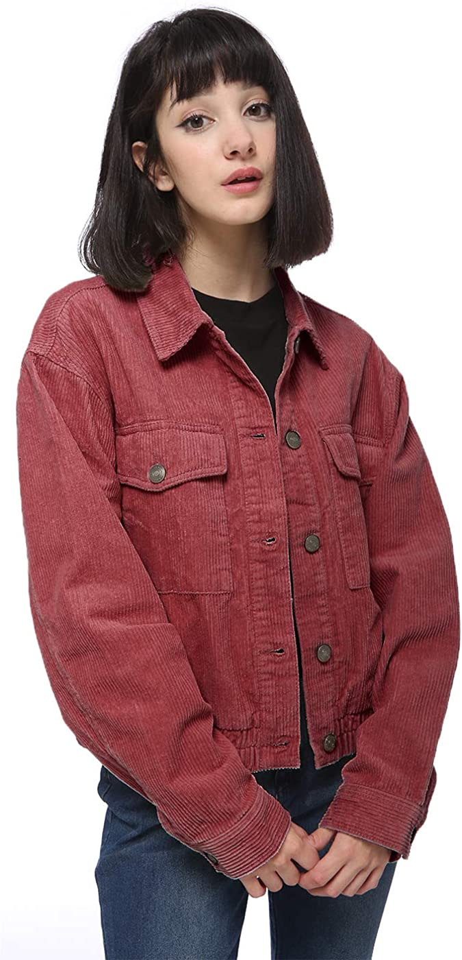 Anna-Kaci Women's Casual Corduroy Button Down Long Sleeve Short Jacket Outerwear