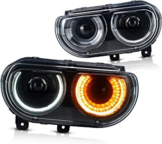YUANZHENG LED Sequential Headlights for [Dodge Challenger 3rd Gen Coupe 2008 2009 2010 2011 2012 2013 2014] with High/Low Beam Projectors Fiber Optic DRLs YAA-DG-0299
