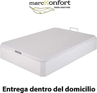 marckonfort Canapé abatible 150X190 de Gran Capacidad con Esquinas Redondeadas en Madera, Base tapizada 3 D Transpirable Color Blanco