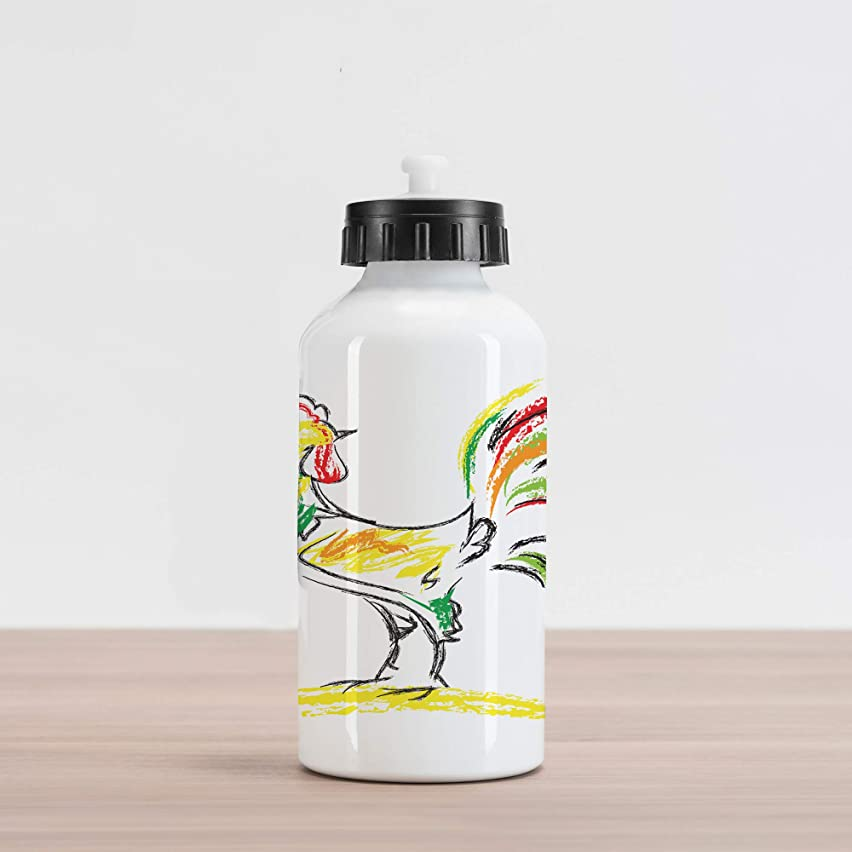 Lunarable Gallos Aluminum Water Bottle, Rooster Chicken Tail Farm Animal Oil Pencil Drawing Effect Child Children Artwork, Aluminum Insulated Spill-Proof Travel Sports Water Bottle, Multicolor