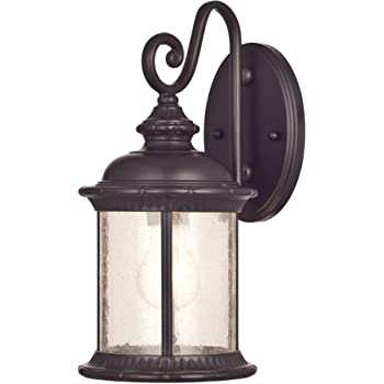 Westinghouse Lighting 6230600 New Haven One-Light Exterior Wall Lantern on Steel with Clear Seeded Glass, Oil Rubbed Bronze Finish