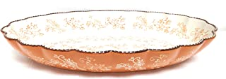 """Temp-tations Clamshell Oval Baker w/Plastic Cover, 3.0 Qt, 14"""" x 9"""" (Floral Lace Spice)"""