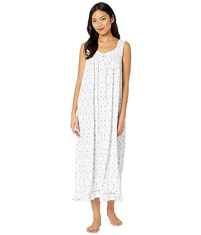 Eileen West Cotton Modal Texture Knit Jersey Sleeveless Ballet Nightgown (White Ground/Floral Stripe) Women