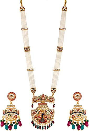 Jewellery Set Gold Plated Long Necklace Hyderabadi Design Pearl Peacock Necklace Set With Earring Jewellery For Women Girls