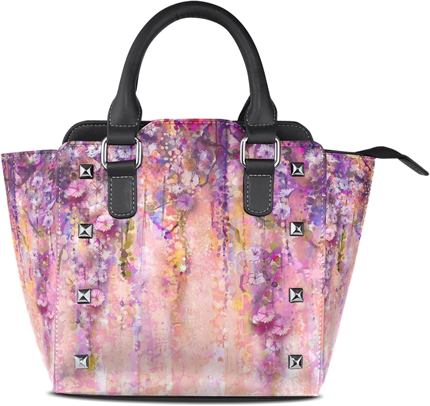 Sunlome Pink purple Watercolor Flowers Painting Print Handbags Women's PU Leather Top-Handle Shoulder Bags