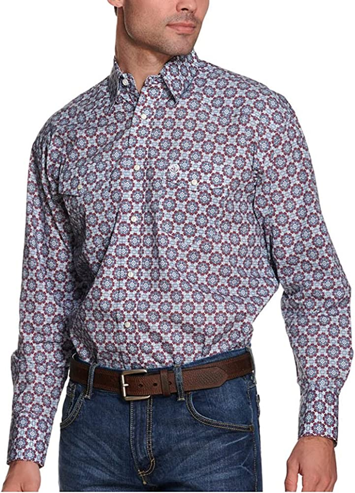 Wrangler Men's George Strait by Medallion Geo Print Long Sleeve Snap Western Shirt Blue XX-Large Tall