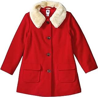 Girls' Wool Coat with Faux Fur Collar