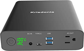 Krisdonia AC Outlet Portable Charger 60000mAh 110V/130W Laptop Power Bank with AC Outlet, 2 QC 3.0 USB Ports and Type-C Port for MacBook, Laptop and More