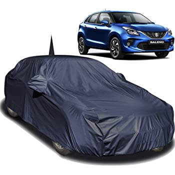 Autofact Car Body Cover Compatible for Maruti Baleno (2015 to 2019) with Mirror and Antenna Pockets (Navy Blue)