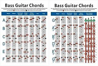 EXCEART Tabla de Acordes Bajos Guitarra Cartel 4 Cuerdas Eléctrico Bajo Digitación Diagrama de Ejercicio para Guitarra Baja Instrumento Musical Práctica Accesorios (Tamaño Pequeño)
