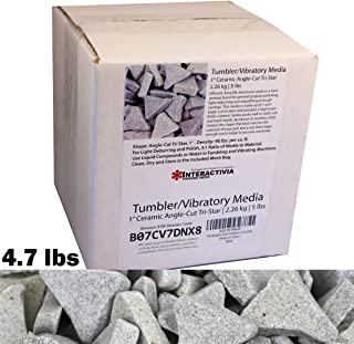 """4.7 lbs/2.1 kg   1"""" Ceramic Angle-Cut Tri Star Tumbling and Vibratory Media   Includes (Clean, Dry and Store) Mesh Bag   for use in Vibrating Tumbler Or Rotating Tumblers"""