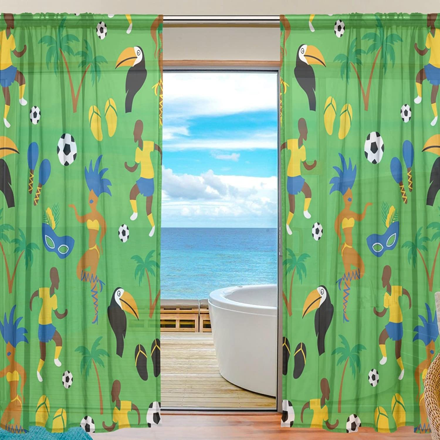 Vantaso Sheer Curtains 84 inch Long Africa Sport Man with Soccer for Kids Girls Bedroom Living Room Window Decorative 2 Panels
