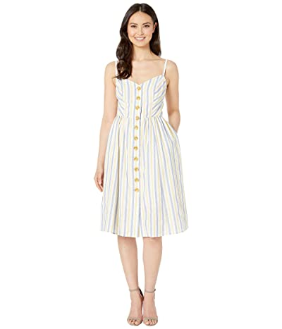 Vince Camuto Open Shoulder Dress with Button Details at the Center (Navy/Green) Women