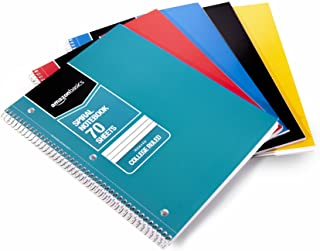 AmazonBasics College Ruled Wirebound Notebook, 70-Sheet, Assorted Solid Colors, 5-Pack