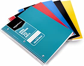 Amazon Basics College Ruled Wirebound Spiral Notebook, 70-Sheet - 5-Pack, Assorted Solid Colors