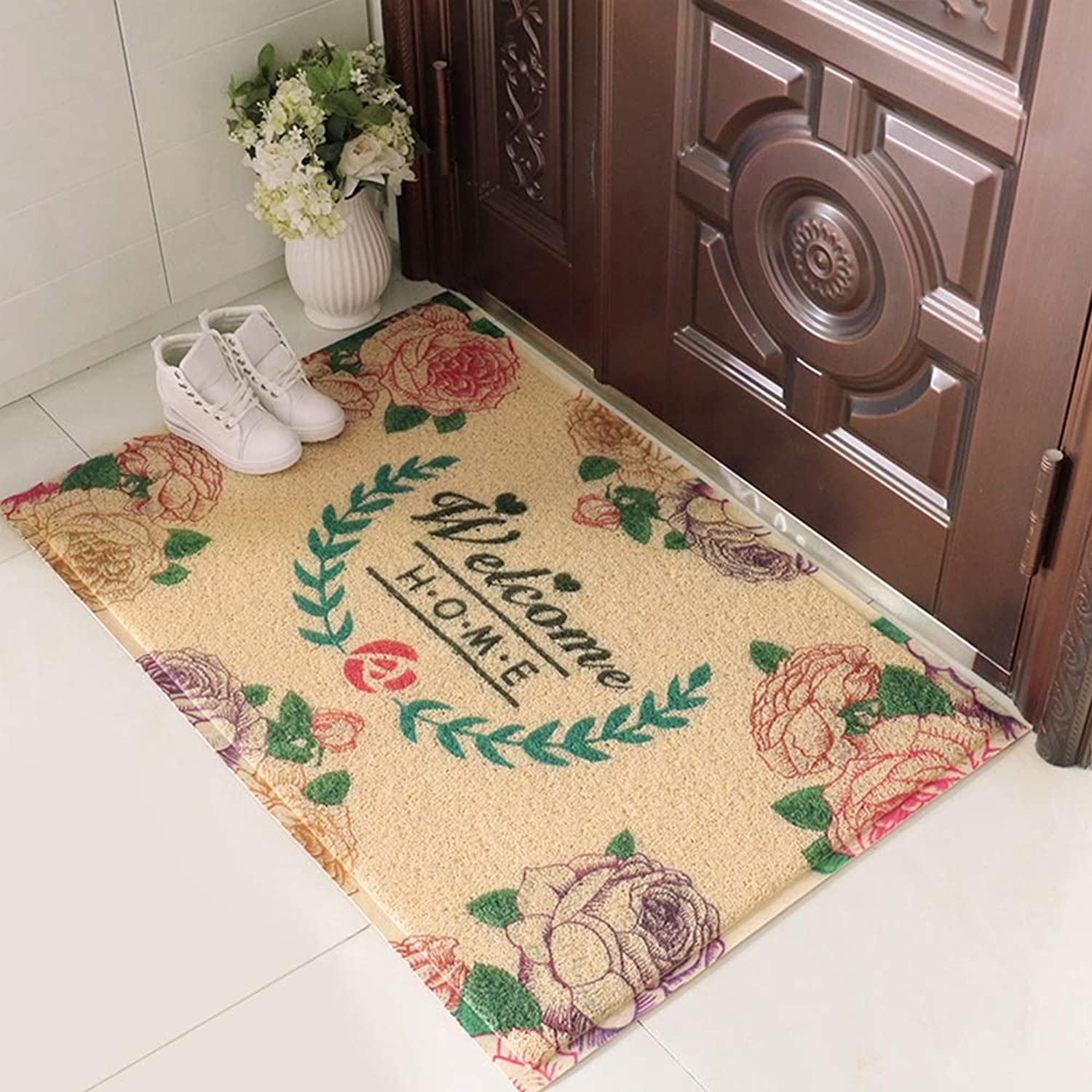 DDSS Door mat Floor mat - Blended Fabric TPR Anti-Skid Rubber Sole, Sweeping dust, Thickening Anti-Skid, European Foyer Porch Door mat mat mat Anti-Slip mat - 5 Styles Optional  -  (color   Yaou)