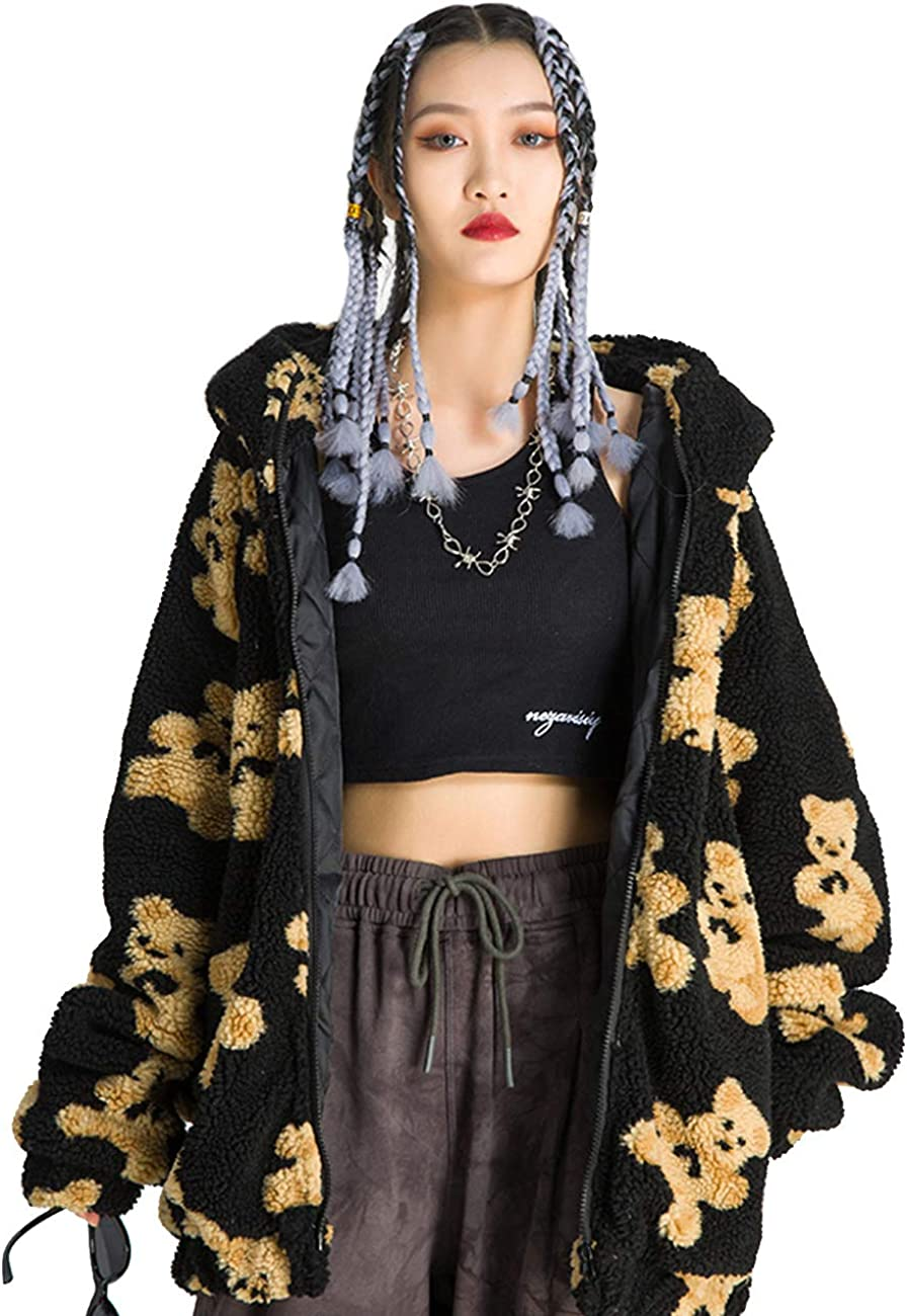 Vamtac Women's Bear Graphic Sherpa Hoodies Long Beach Mall Oversized Pullover Same day shipping Fl