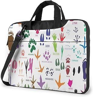 "Paw Prints of Animals and Birds Laptop Bag Protective Case Computer Messenger Briefcase Women Men 13"""