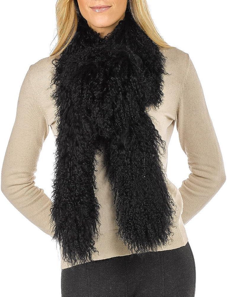 Long Tibetan Lamb Fur Scarf Lowest price challenge - Popular overseas Black
