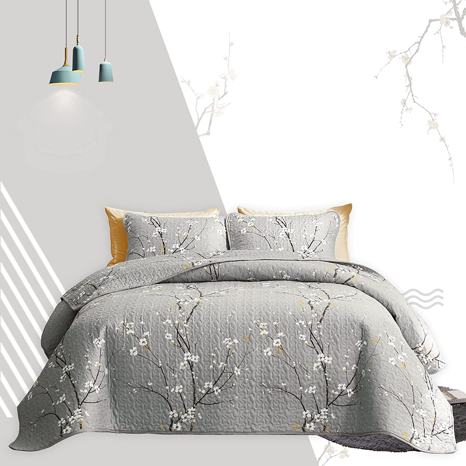 Quilt Set Bed mart in a Bag Max 56% OFF 7 Branch Summer Gray Queen Piece Size