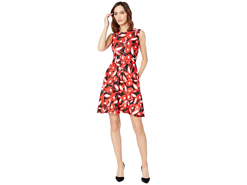 Taylor Sleeveless Floral Fit and Flare Dress (Red) Women
