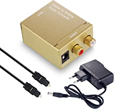 Digital to Analog Converter DAC Digital SPDIF Toslink to Analog Stereo Audio L/R Converter Adapter with Optical Cable (Golden)