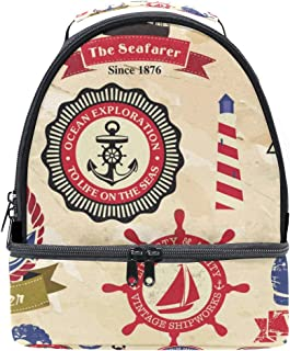 Mydaily Kids Lunch Box Vintage Anchor Compass Sailboat Reusable Insulated School Lunch Tote Bag