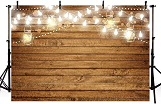 MEHOFOTO 8x6ft Photography Backdrops Props Shining Bulbs Love Heart Pattern Bottles Wood Birthday Wedding Party Decoration Photo Studio Booth Background Banner