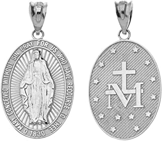 Fine 925 Sterling Silver Miraculous Medal Of Blessed Virgin Mary Catholic Charm Pendant