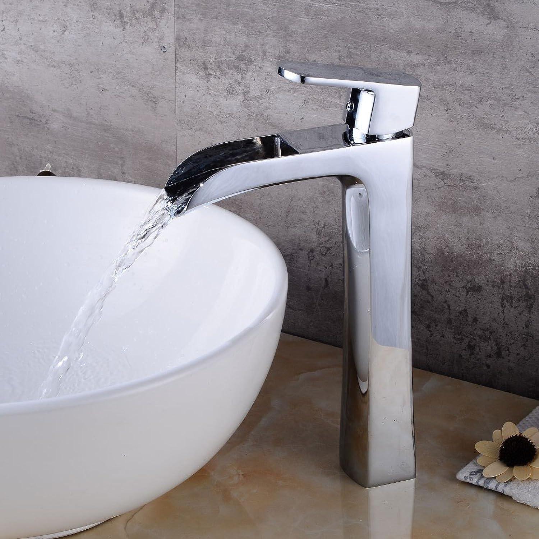 Bijjaladeva Wasserhahn Bad Wasserfall Mischbatterie WaschbeckenSilber verchromt Messing Einzigen Griff Ein Loch Keramik Ventil fllt aus der Wasser-und Kaltes Wasser,Badezimmer WA
