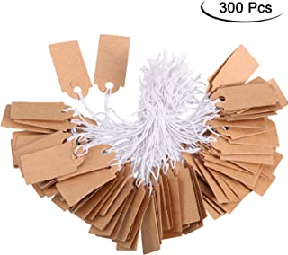 300 Packs Marking Tags Price Tags Writable Blank Price Labels Display Tags with Elastic Hanging String, Kraft, 1.02 x 0.47 Inch