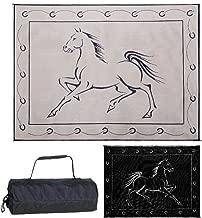 Reversible Mats 219121 Outdoor Patio / RV Camping Mat - Hunter Mat (Black/Beige Horse Design, 9 Feet x 12 Feet)