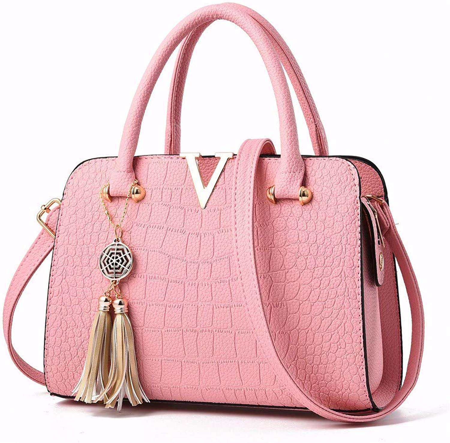 Ladies Handbag Shoulder Bag European and American Fashion PU Bag Crocodile Lady Handbag (color   Pink)