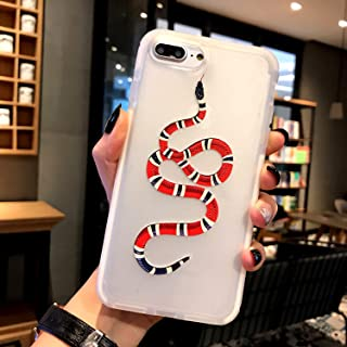 Kplvet iPhone 7 Plus iPhone 8 Plus Case,Super Shield Protective Thick Semi-Transparent Anti Yellowing Embossed Snake 5.5 iPhone 7p 8p Soft Cover,Street Fashion Trend Phone Case (Shield Snake)