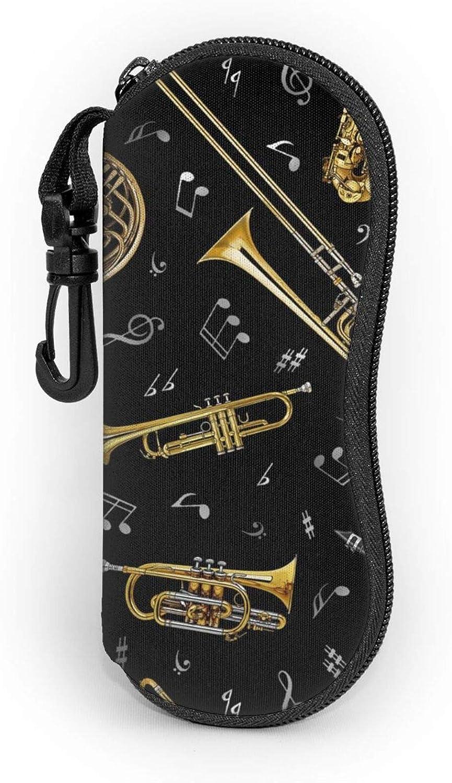 TYUO Sunglasses Soft Zipper Case Eyeglass Cases with Belt Clip Jazz Music Instruments Saxophone Instrument Ultra Light Glasses Pouch