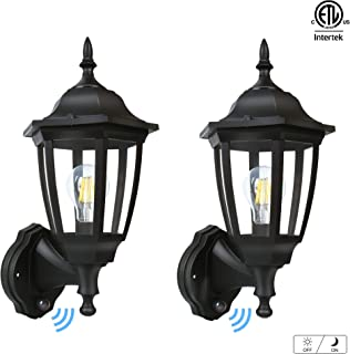 FUDESY Outdoor Dusk to Dawn LED Wall Lantern,Plastic Material Anti-Corrosion Black Porch Sensor Light with LED Edison Filament Bulb,Exterior Mount Lanterns for Porch, Garage(2-Pack),FDS2542EPSB