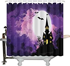 JXHLMS Halloween Shower Curtain, Happy Celebration Typography Stained Halloween, Fabric Bathroom Decor Set with Hooks, 66 INCHES Wide x 72 INCHES Long 0029