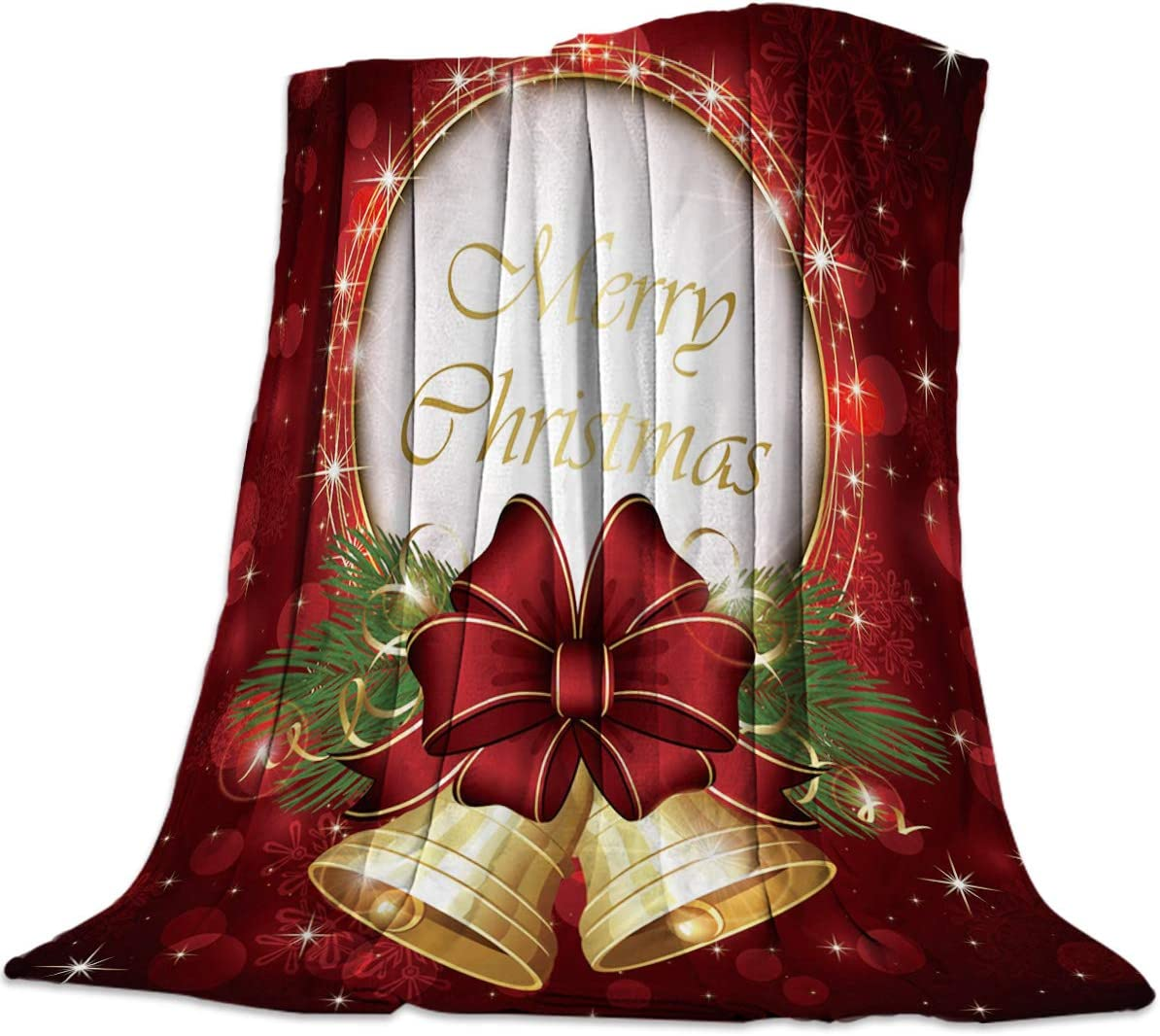 Rare HIYPLAY Christmas Bell Flannel Fleece Blanket Now free shipping b Red 50
