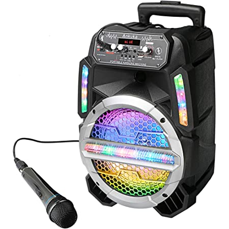 Portable karaoke machine for kids and adults,Full karaoke system with Bluetooth Speaker and Microphone,LED lights,works with bluetooth.