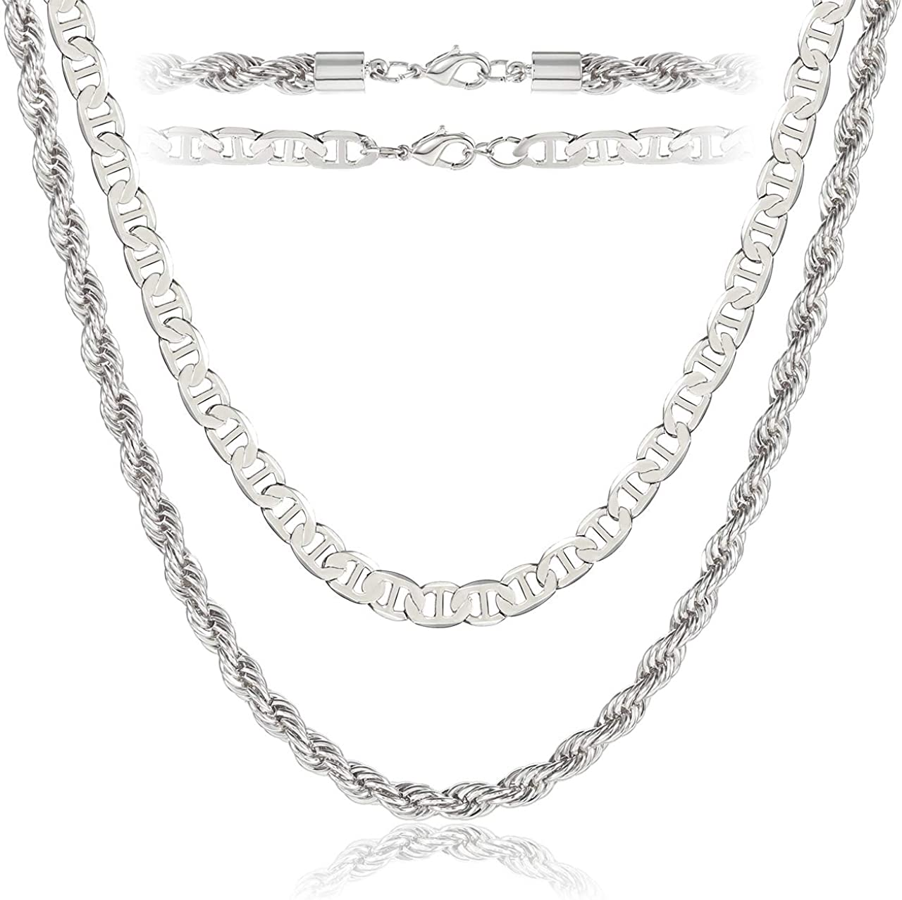 NLCAC 14K Gold Chain Necklace for Women,Layered Gold Mariner Chain and Twist Rope Chain Chunky Choker Collar Necklace 16