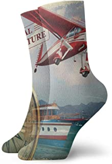 Fuliya, Calcetines cortos de longitud de pantorrilla suaves con cita de aventura real con costa y un avión rojo, para viajes, arte temático, calcetines para mujeres y hombres, ideales para correr