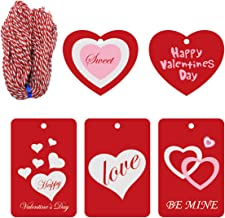 Cualfec 100 Pcs Red Valentine Tags with String for Valentine's Day Gift Wrapping Price Labeling - 5 Designs