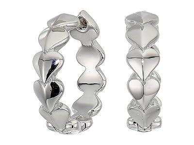 Kate Spade New York Heritage Spade Metal Heart Huggies Earrings (Silver) Earring