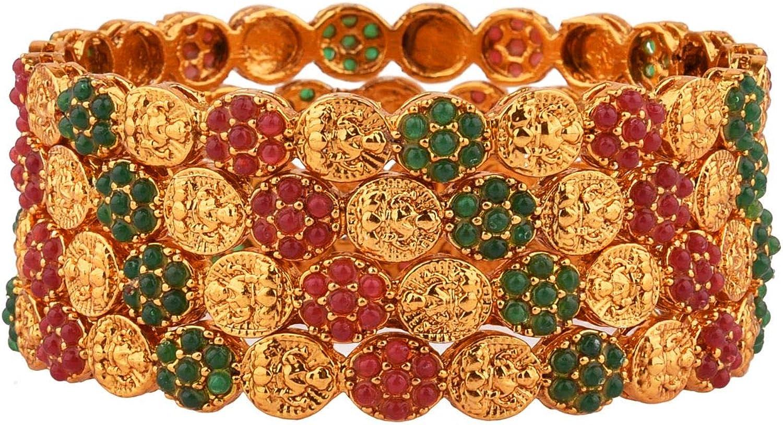 Efulgenz Indian Style Bollywood Traditional Rhinestone Faux Pearl Indian Bangle Bracelet Set Jewelry for Women