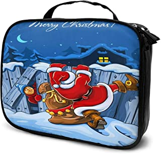 Cosmetic Bag Funny Santa Claus Climbing The Wall Makeup Bag Lightweight Portable Cosmetic Case Water Resisted Cosmetic Makeup Bag Durable Organizer Makeup Boxes With Insulated Pockets For Travel