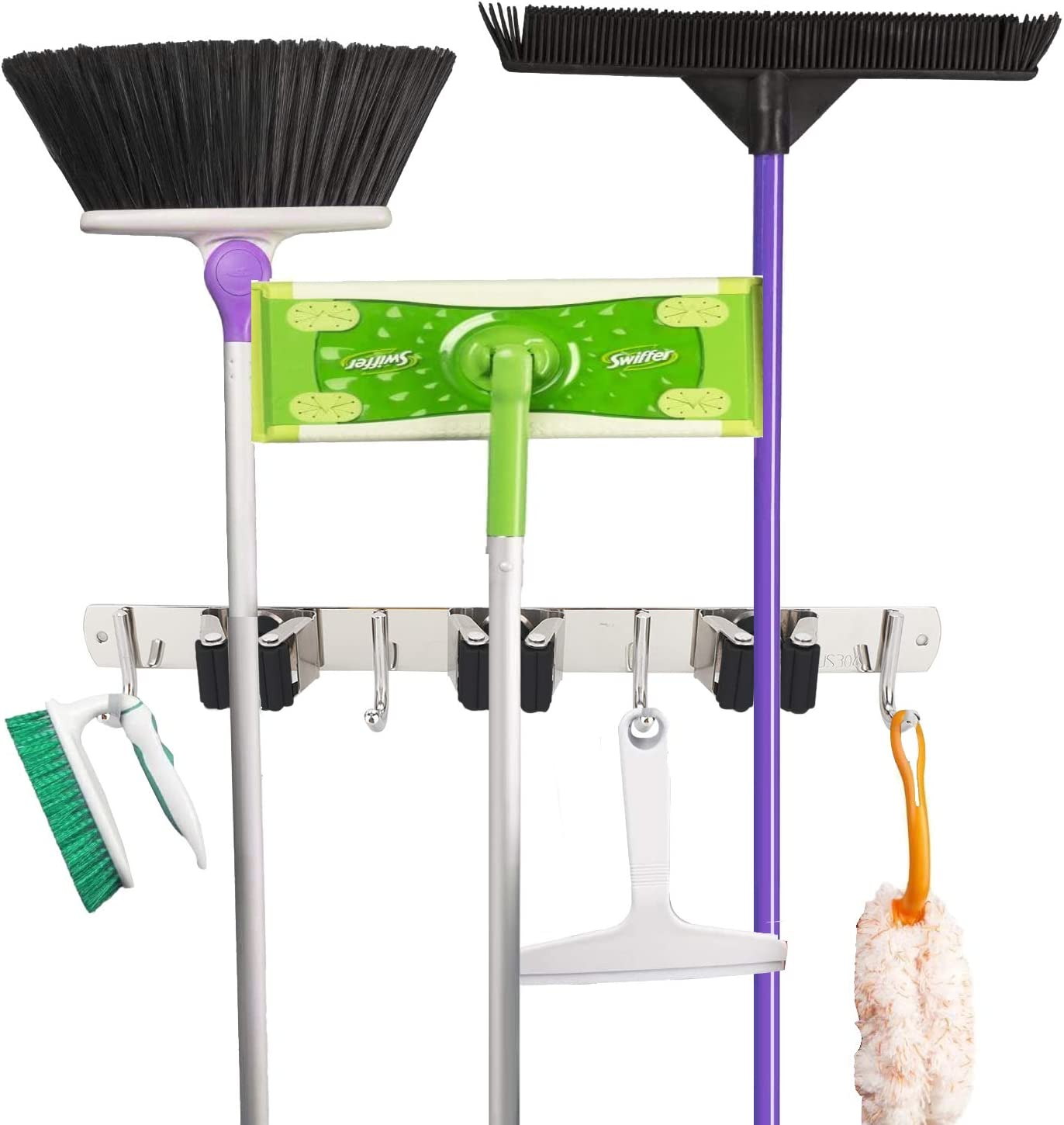 Xpork Broom Mop Holder Garage Laundry Room Garden Office Wall Mounted Stainless Mop Storage Clip Hook for Broom Mop Tool Storage in Kitchen with 3 Position 4 Hooks Grey