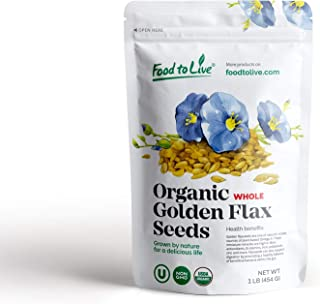 Organic Golden Flaxseed (Whole, Raw, Non-GMO, Kosher, Bulk) by Food to live — 1 Pound