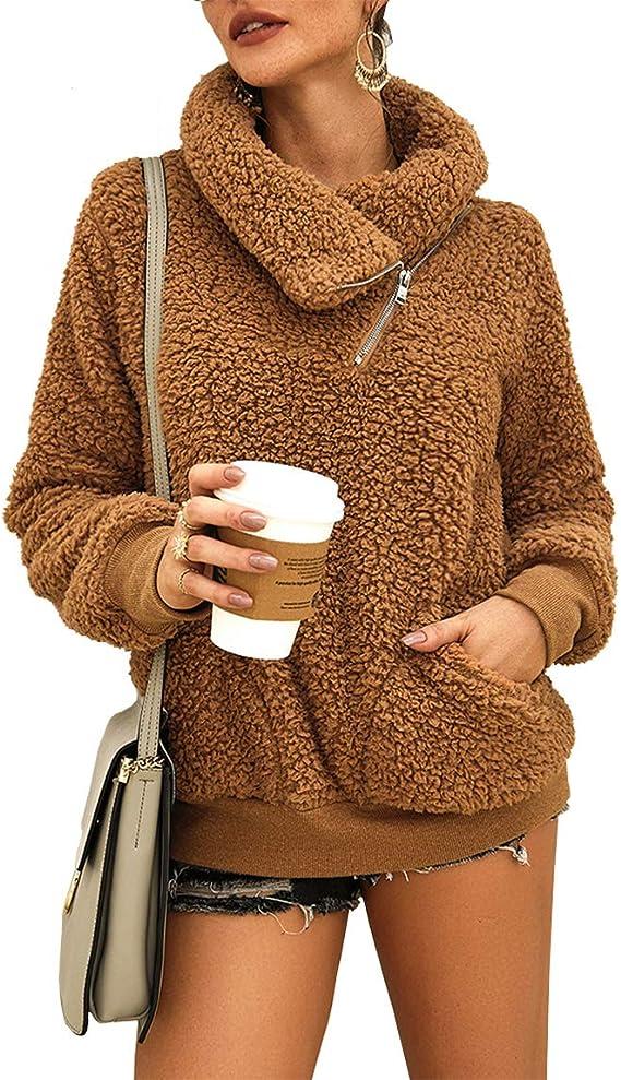 KIRUNDO 2019 Women's Winter Lapel Sweatshirt Faux Shearling Shaggy Warm Leopard Pullover Zipped Up with Pockets Outwear