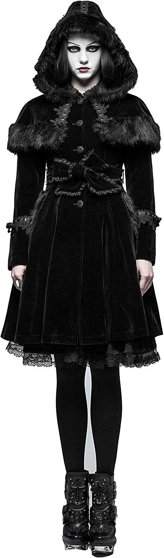 Punk Rave Women Black Gothic Sweet Lolita Vintage Wool Winter Hooded Coat